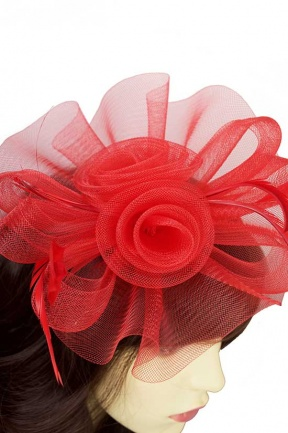 Large Red Flower Amp Feather Hairband Fascinator Red Hair